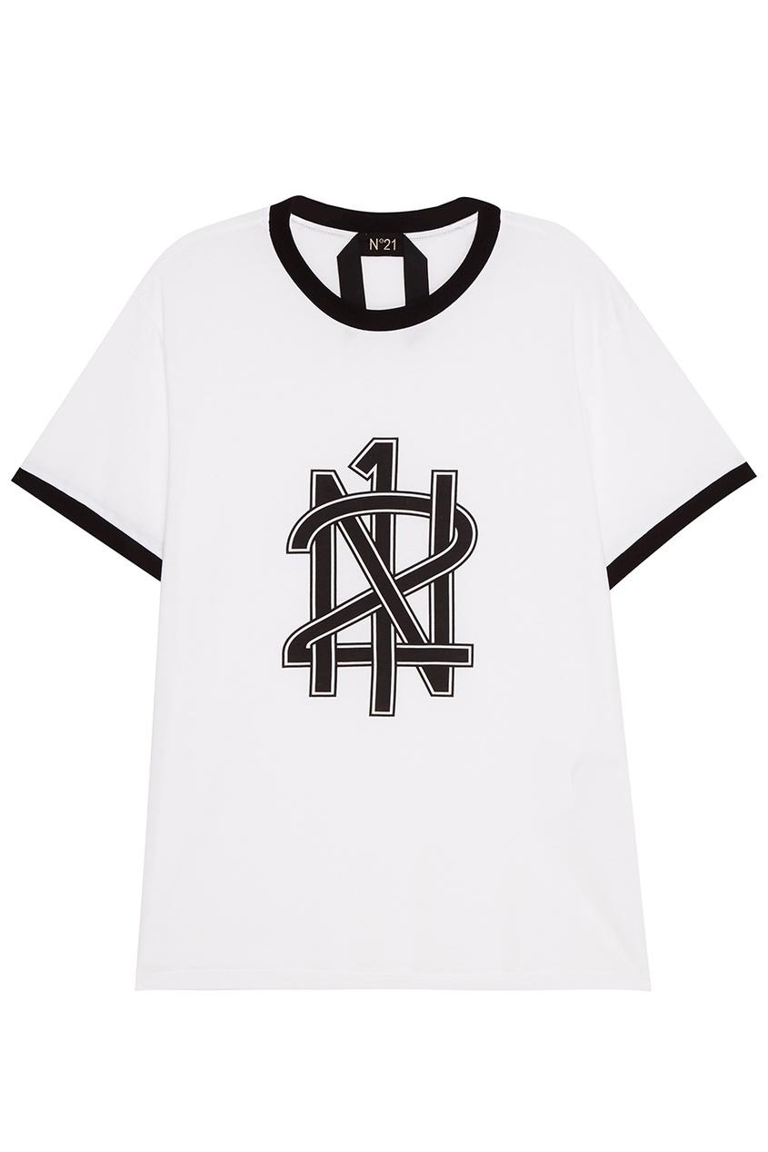 No.21 Футболка с черным логотипом лак для ногтей orly permanent collection 488 цвет 488 glam variant hex name 430020