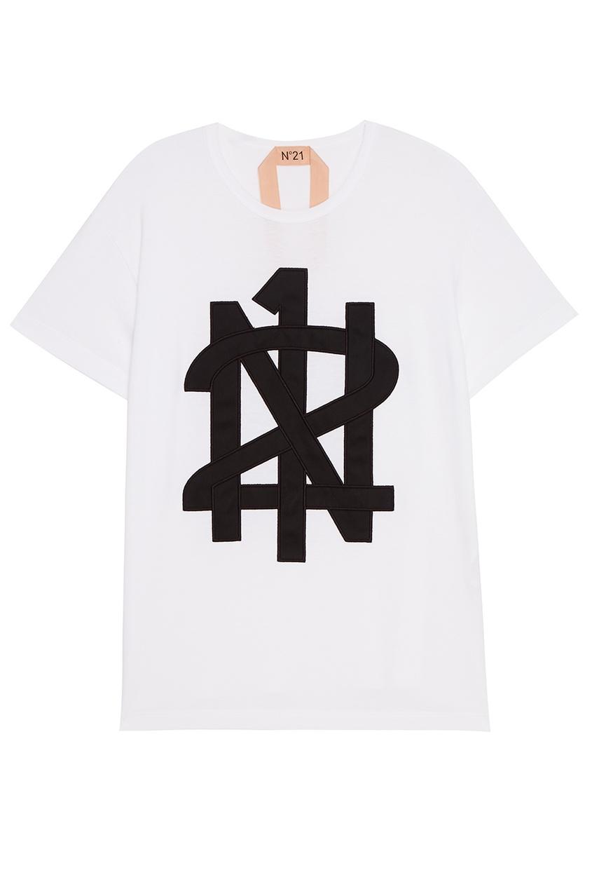 No.21 Белая футболка с нашивкой-логотипом футболка белая с принтом ido ут 00004169
