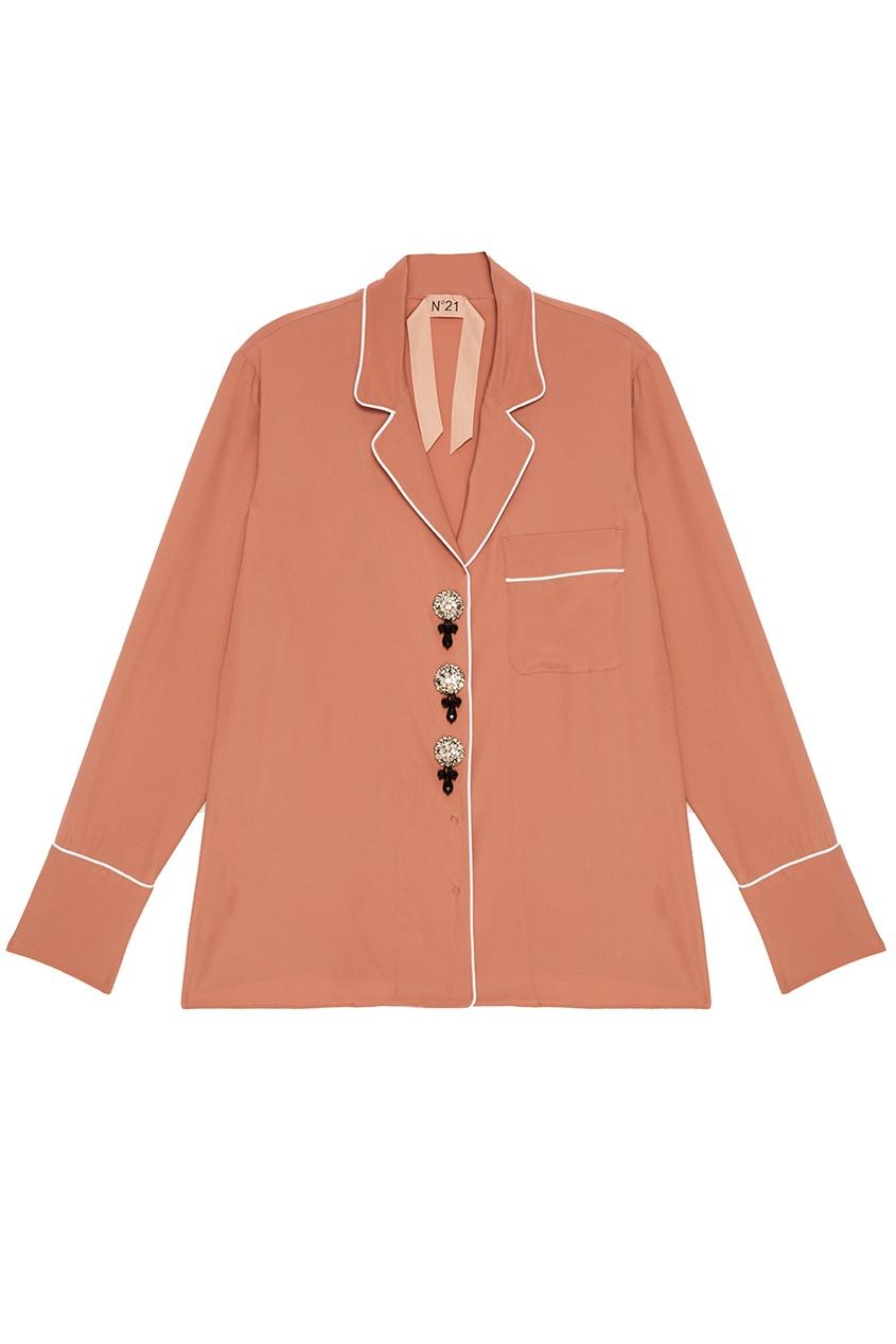 No.21 Бежевая блузка с пуговицами-кристаллами babyhit evenly light светло бежевая с белыми звездочками