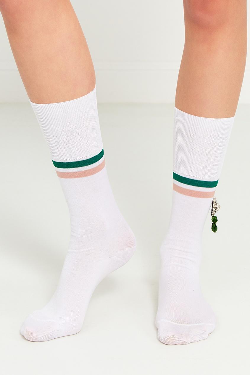 Белые хлопковые носки с кристаллами