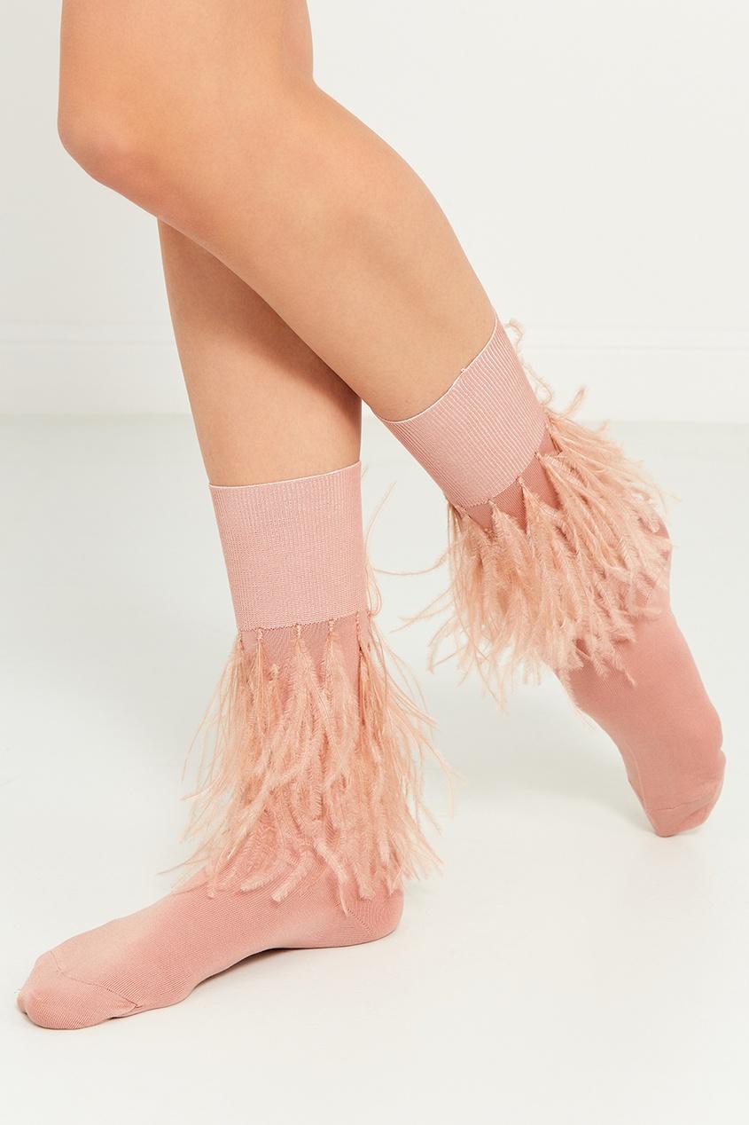Розовые носки с перьями