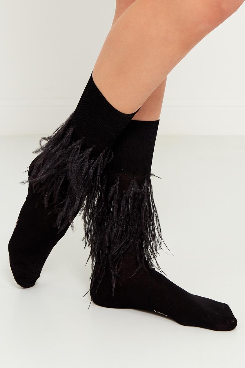 Черные хлопковые носки с перьями
