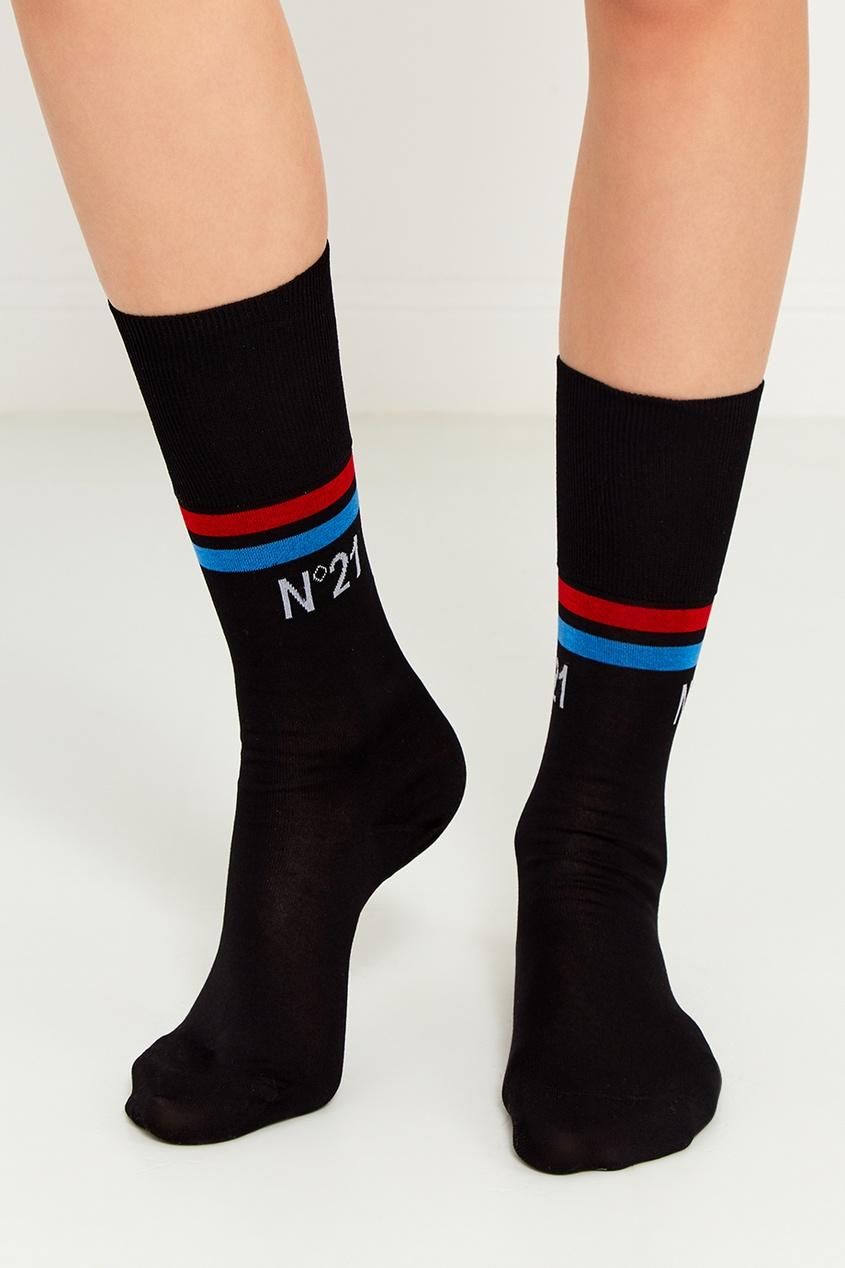 Черные хлопковые носки с полосками
