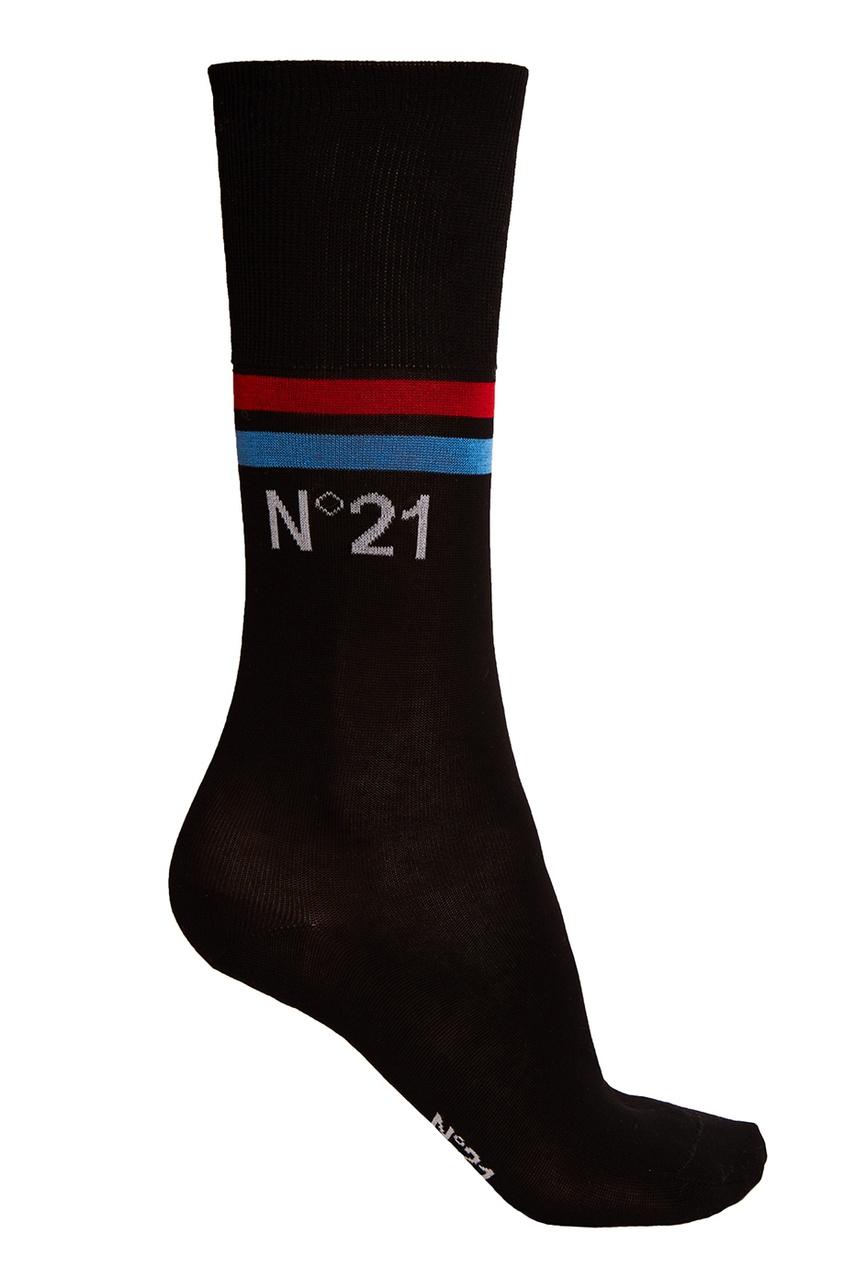No.21 Черные хлопковые носки с полосками no 21 черные хлопковые носки с перьями