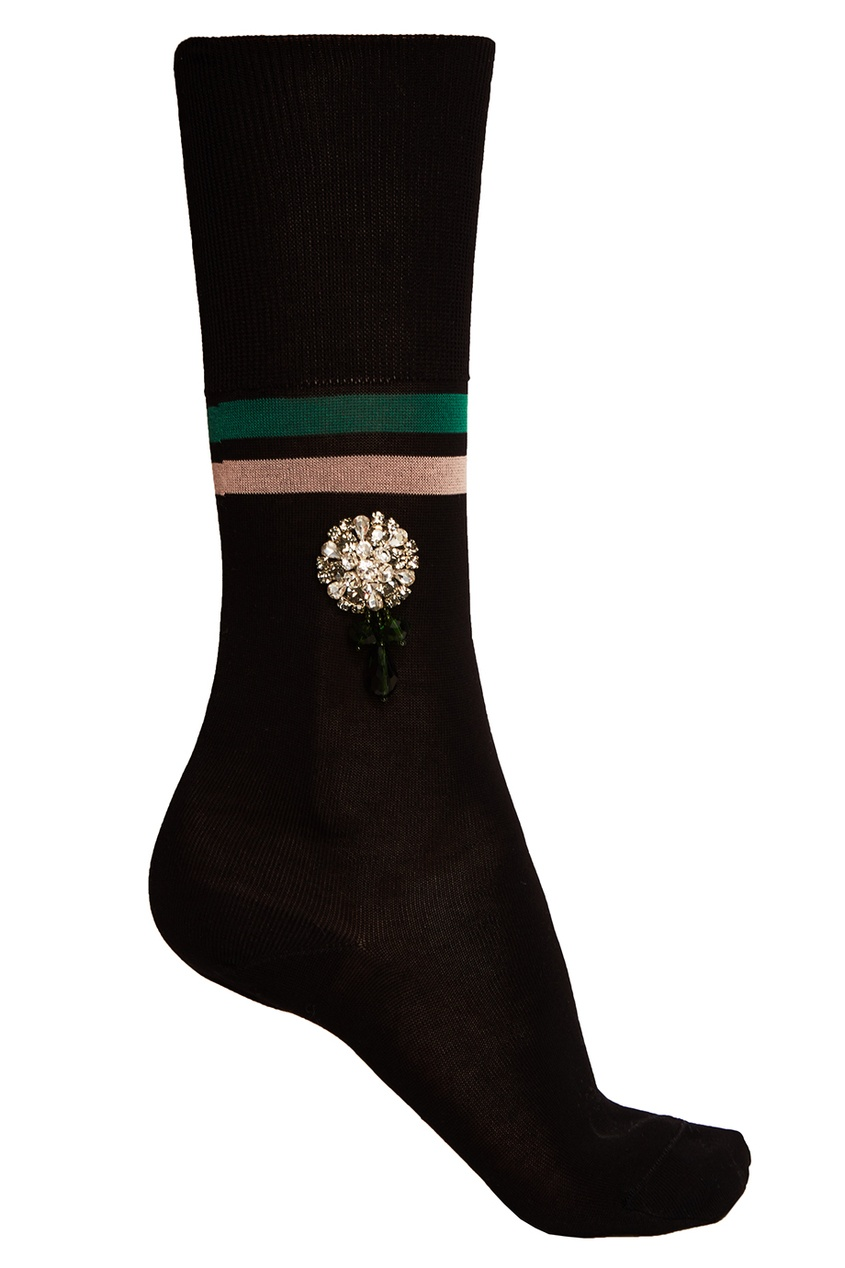 Черные хлопковые носки с кристаллами
