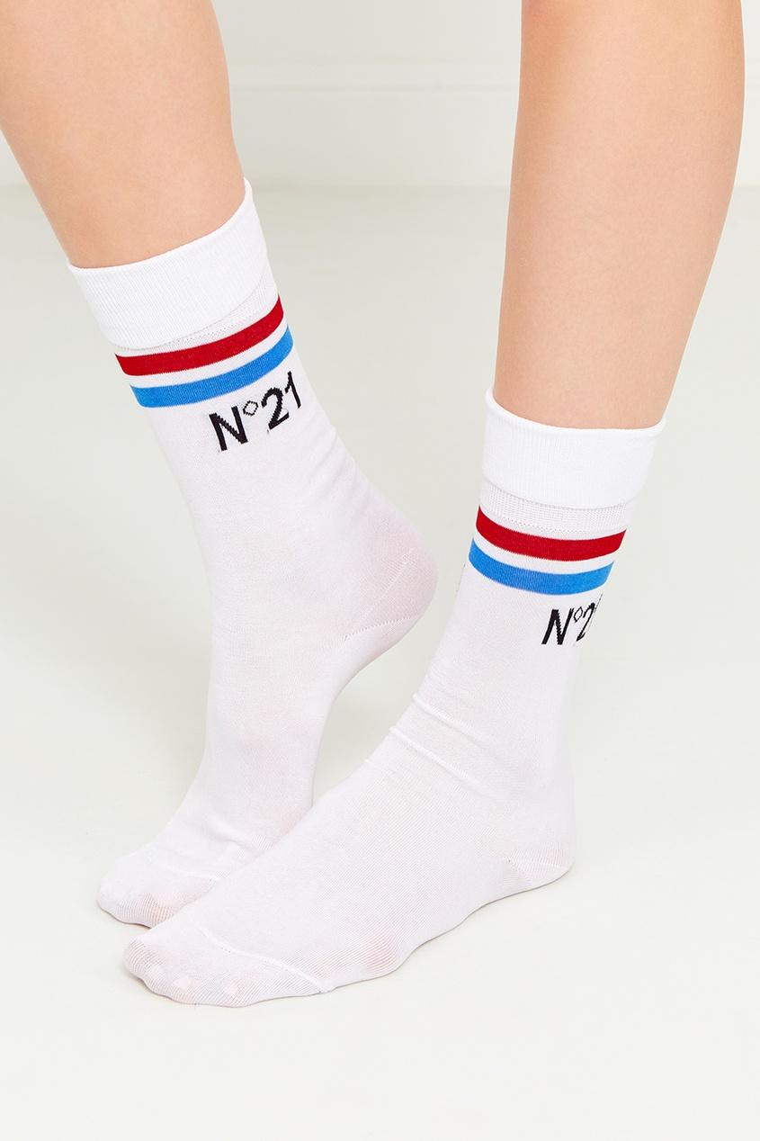 Белые хлопковые носки с полосками