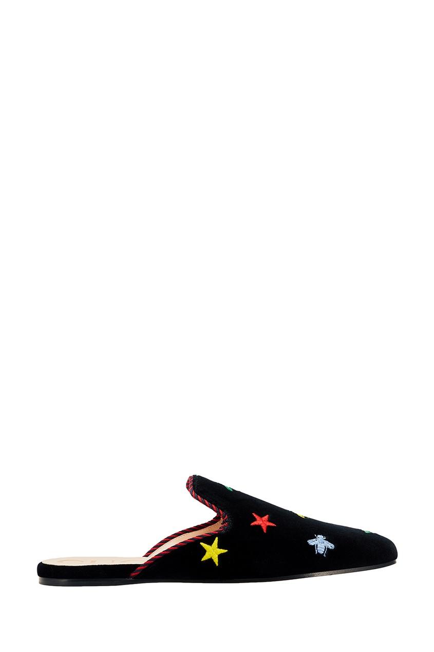 Gucci Бархатные слиперы с вышивкой слиперы мужские в спб