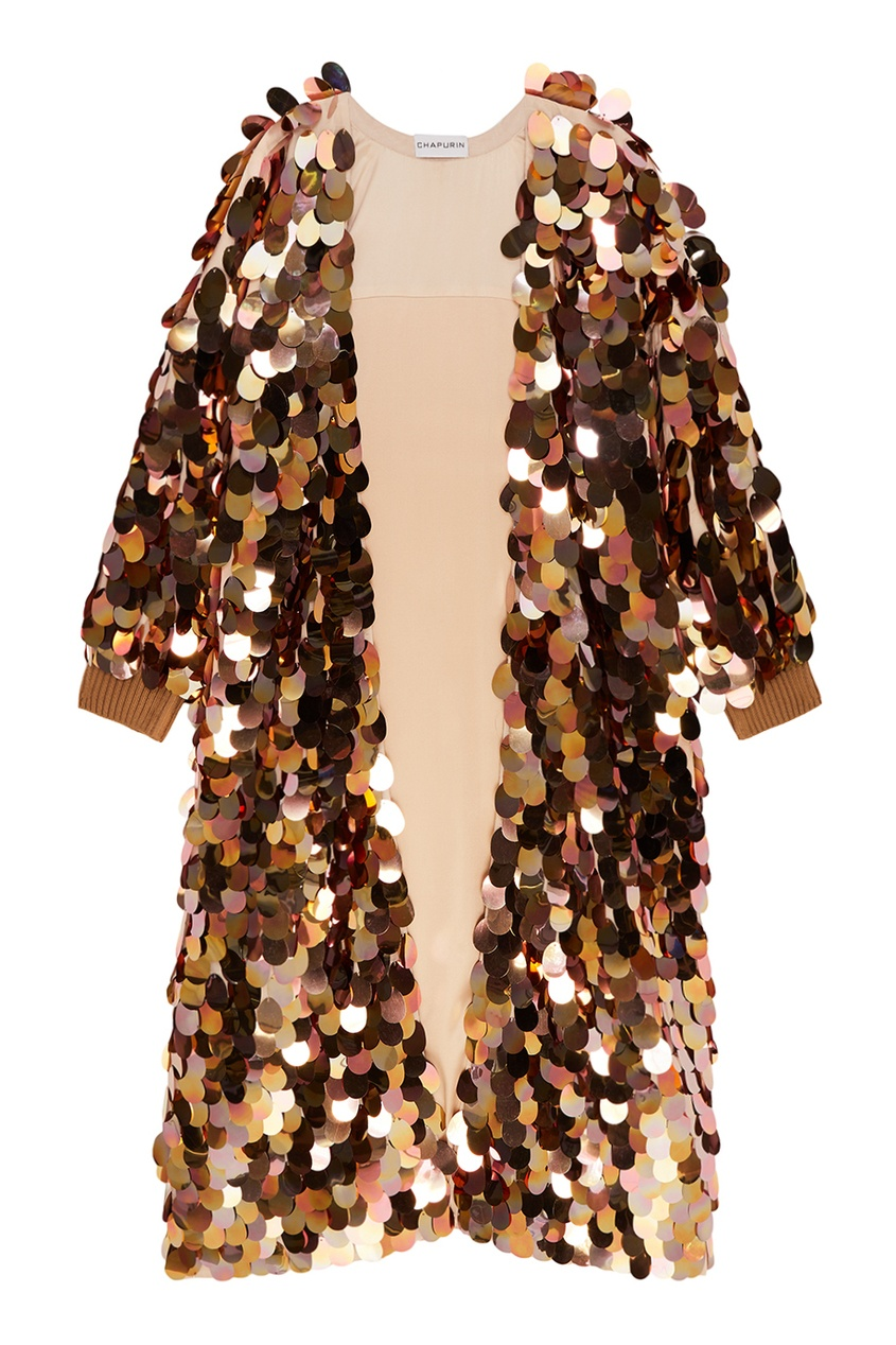 Chapurin Халат с золотистыми пайетками no name юбка с золотистыми пайетками