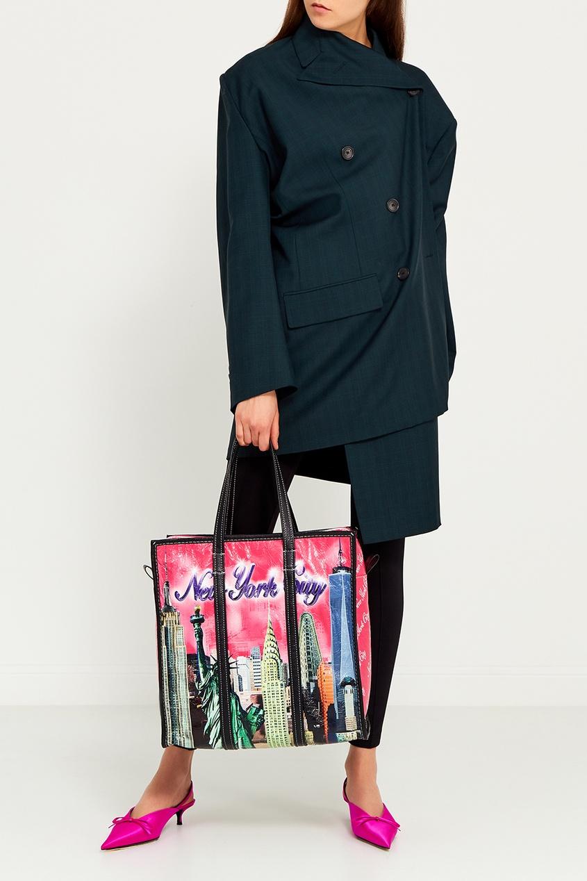 Кожаная сумка с принтом Bazar New York S