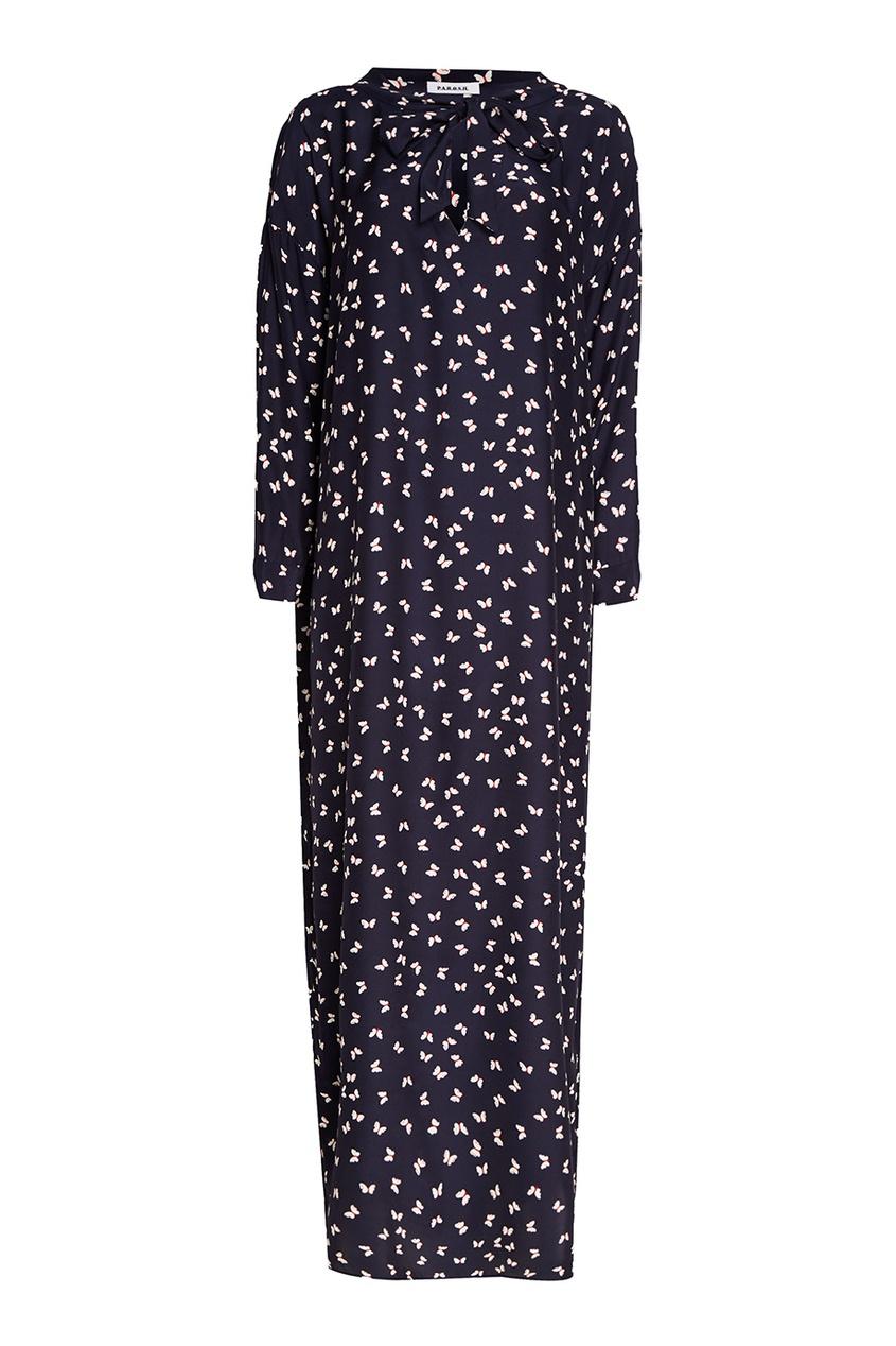 P.A.R.O.S.H. Длинное платье с принтом поло синее с принтом ido ут 00004176