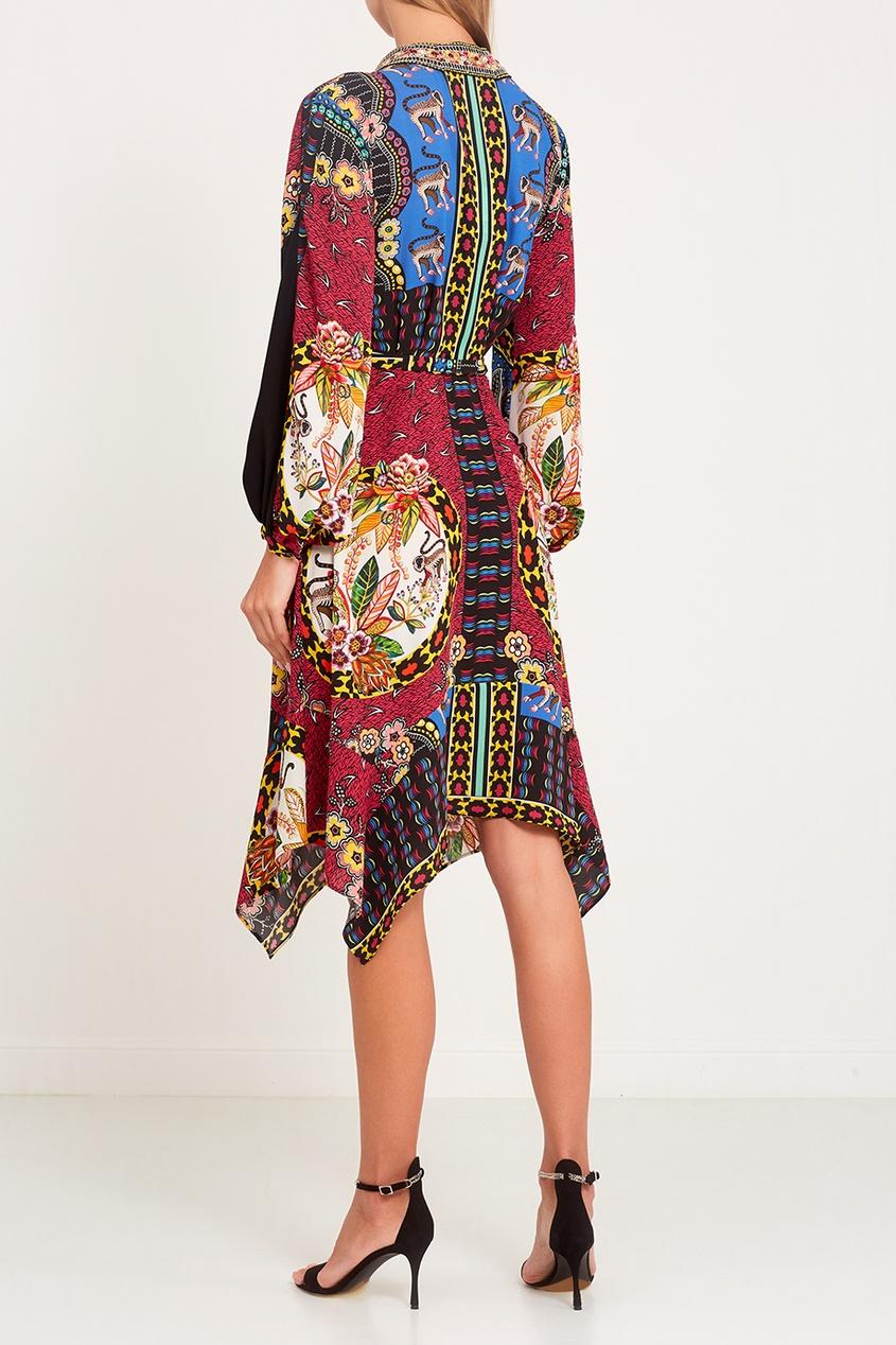 Платье с цветным принтом