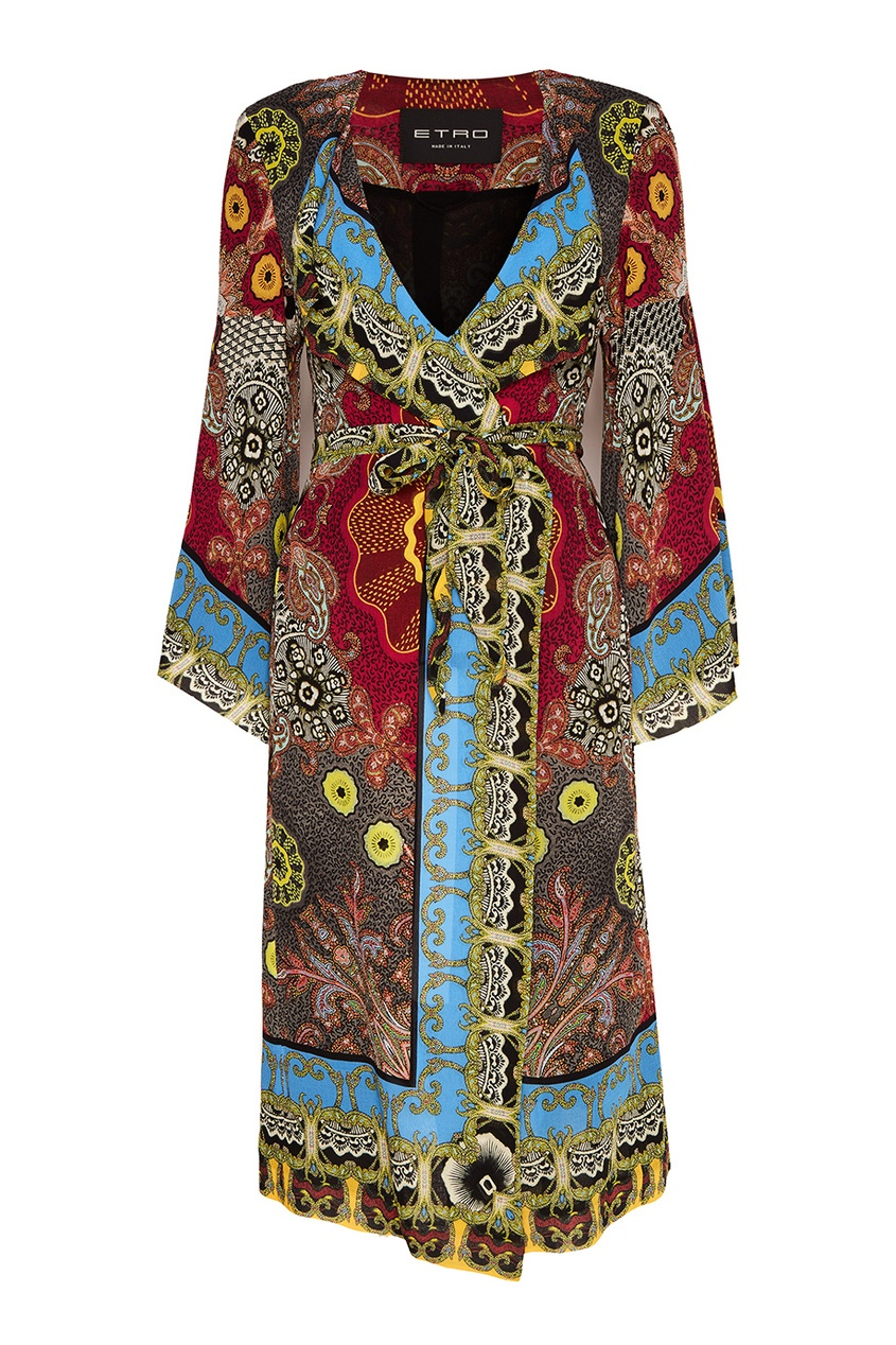 Шелковое платье-халат с принтом