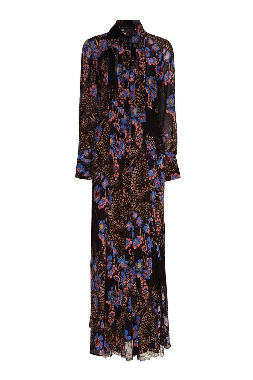 Etro Черное шелковое платье с принтом etro платье от etro 54666