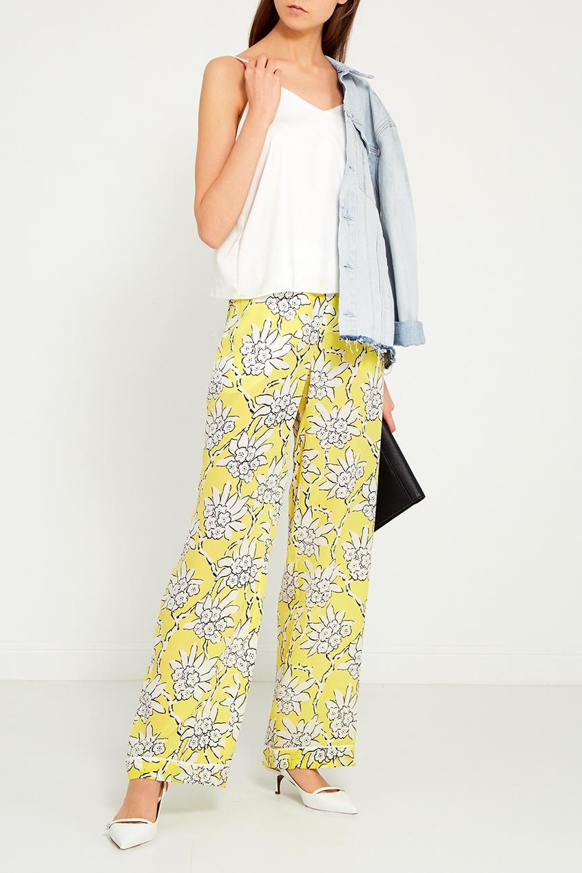 Valentino Шелковые брюки с принтом прямые широкие женские зимние брюки