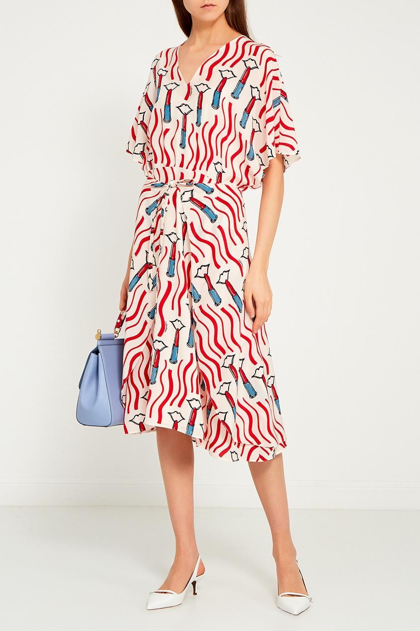 Valentino Шелковое платье с ярким принтом erickson beamon шелковое платье