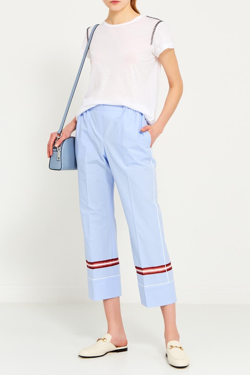 Голубые брюки из хлопка
