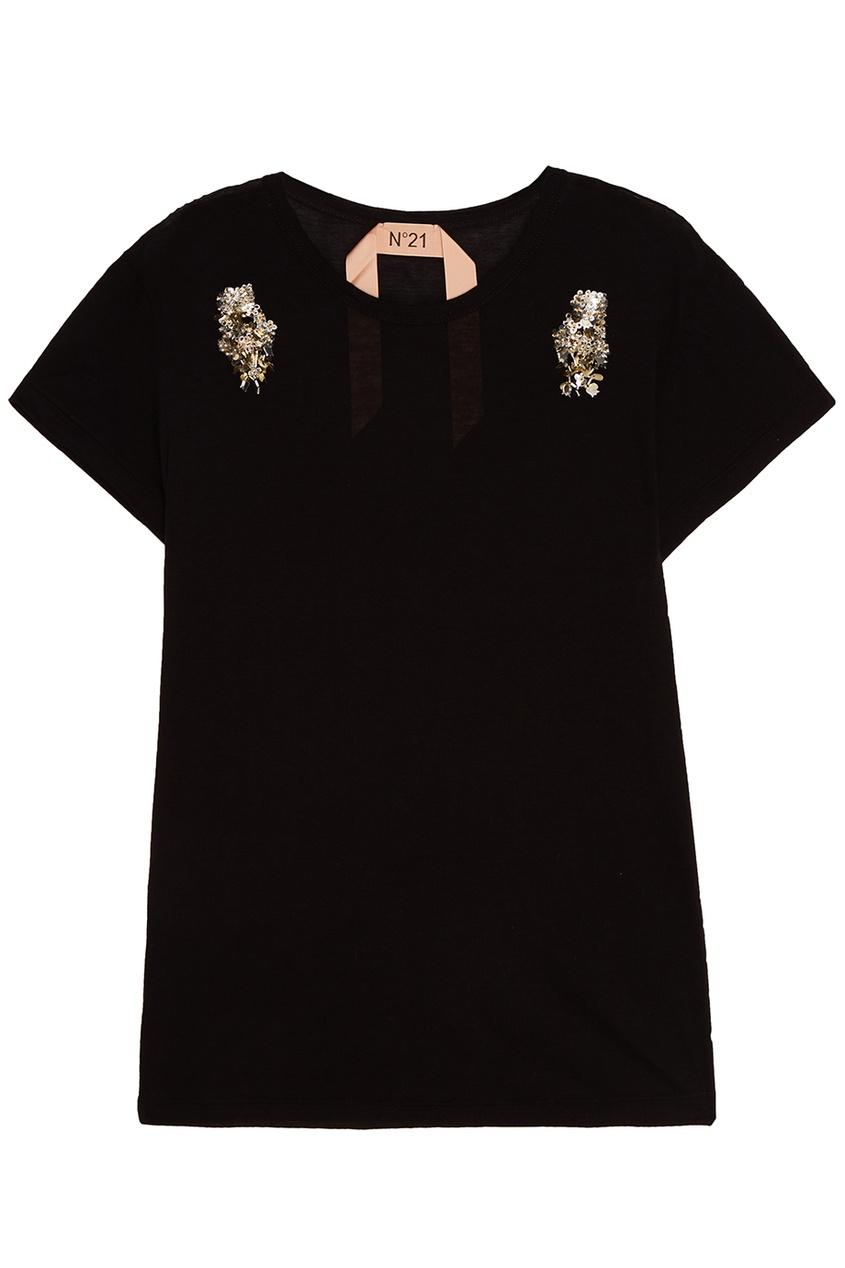 No.21 Черная футболка с вышивкой no 21 хлопковая рубашка с перьями