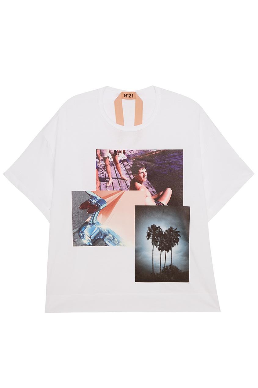 No.21 Хлопковая футболка с фотопринтом no 21 хлопковая рубашка с перьями