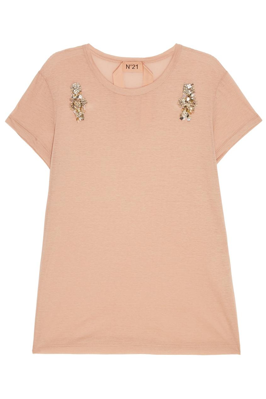 No.21 Хлопковая футболка с вышивкой no 21 хлопковая рубашка с перьями