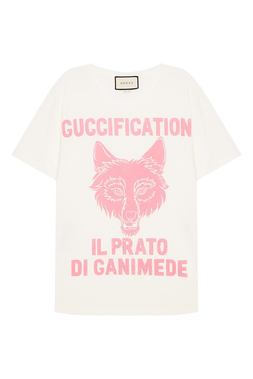 Белая футболка с принтом и надписью от Gucci