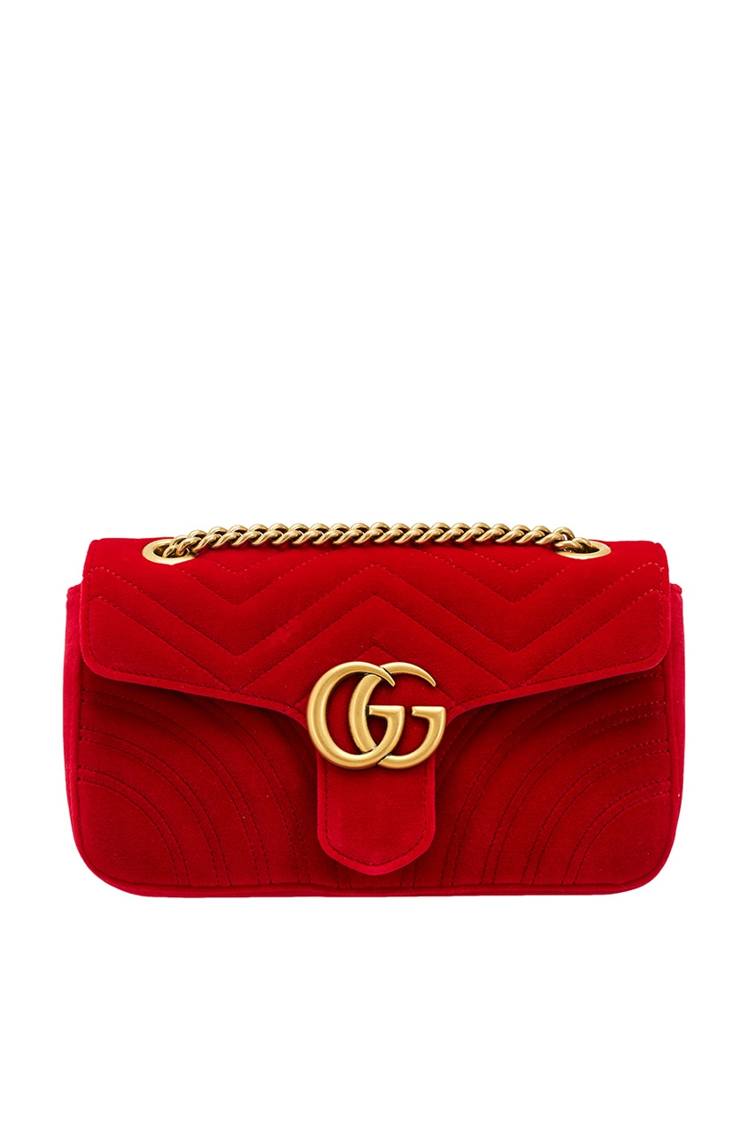 Gucci Красная бархатная сумка GG Marmont gucci сумка
