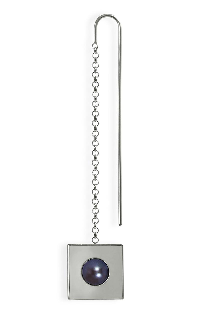 Квадратная серебряная моносерьга с жемчугом Forma