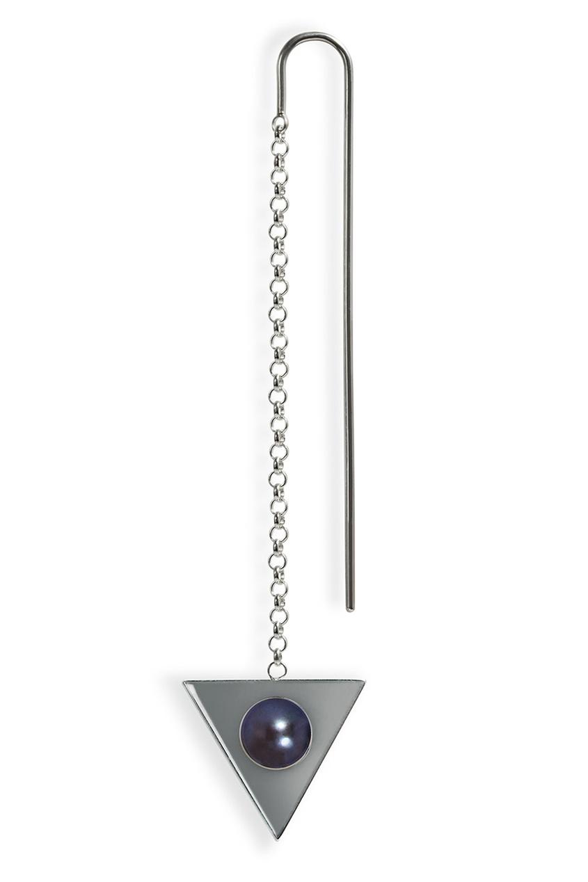 Треугольная моносерьга Forma серебряная с жемчугом