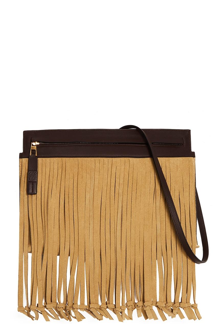 LOEWE Замшевая сумка с бахромой