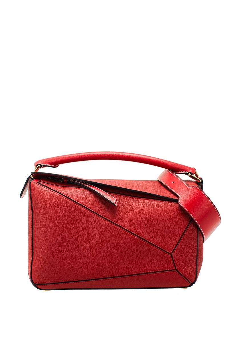LOEWE Красная кожаная сумка Puzzle