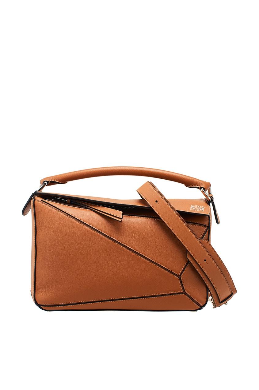 LOEWE Коричневая сумка из кожи Puzzle