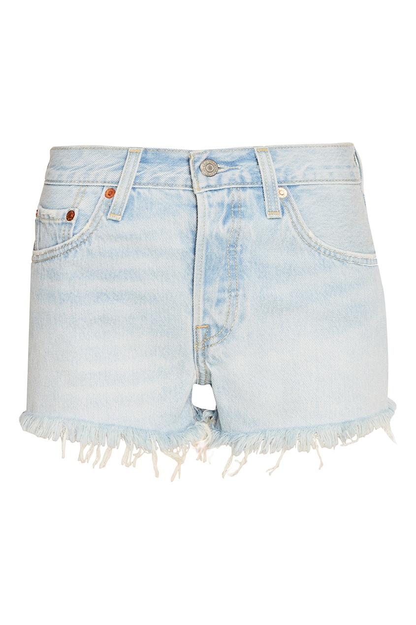Levi's® Голубые джинсовые шорты с бахромой 501® SHORT