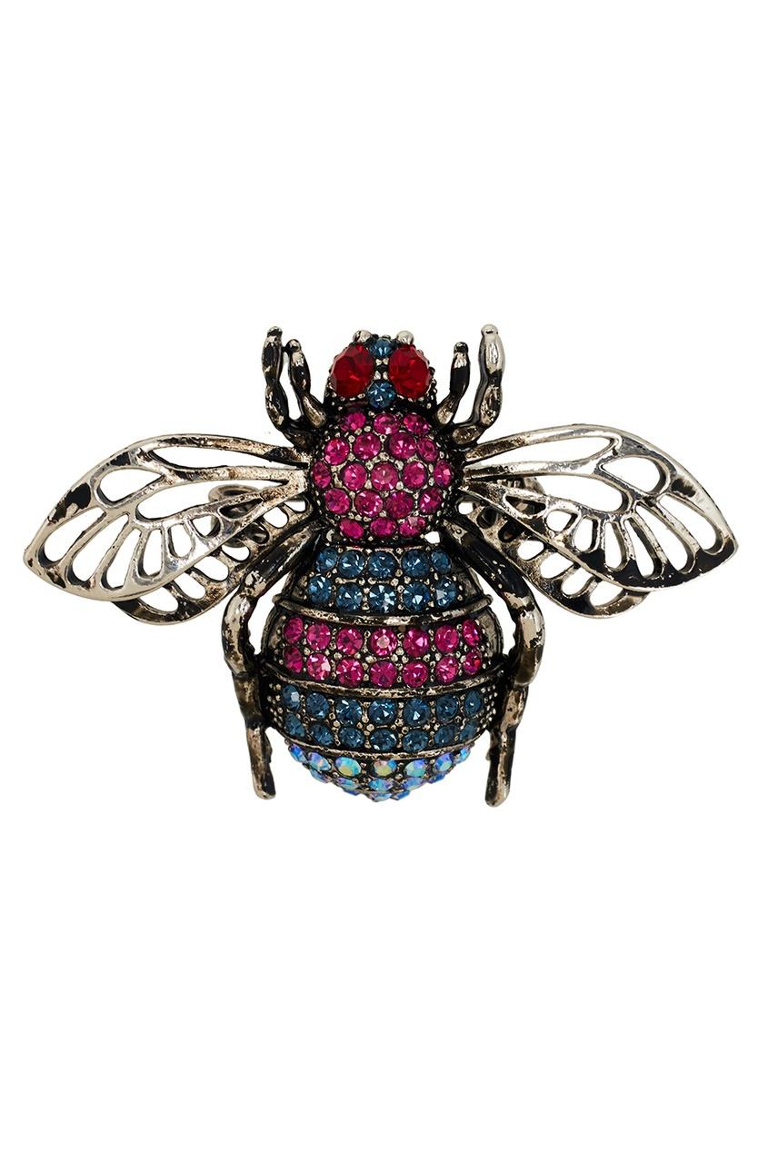 RubyNovich Брошь с розовыми кристаллами брошь bohemia style цвет серебряный с чернением черный 7061 1141 04