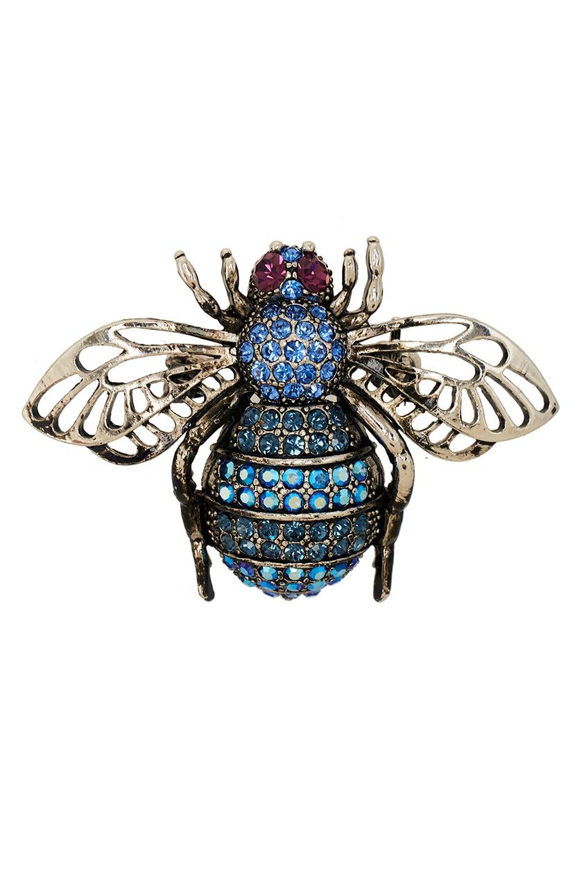 RubyNovich Брошь с синими кристаллами брошь в виде змеи