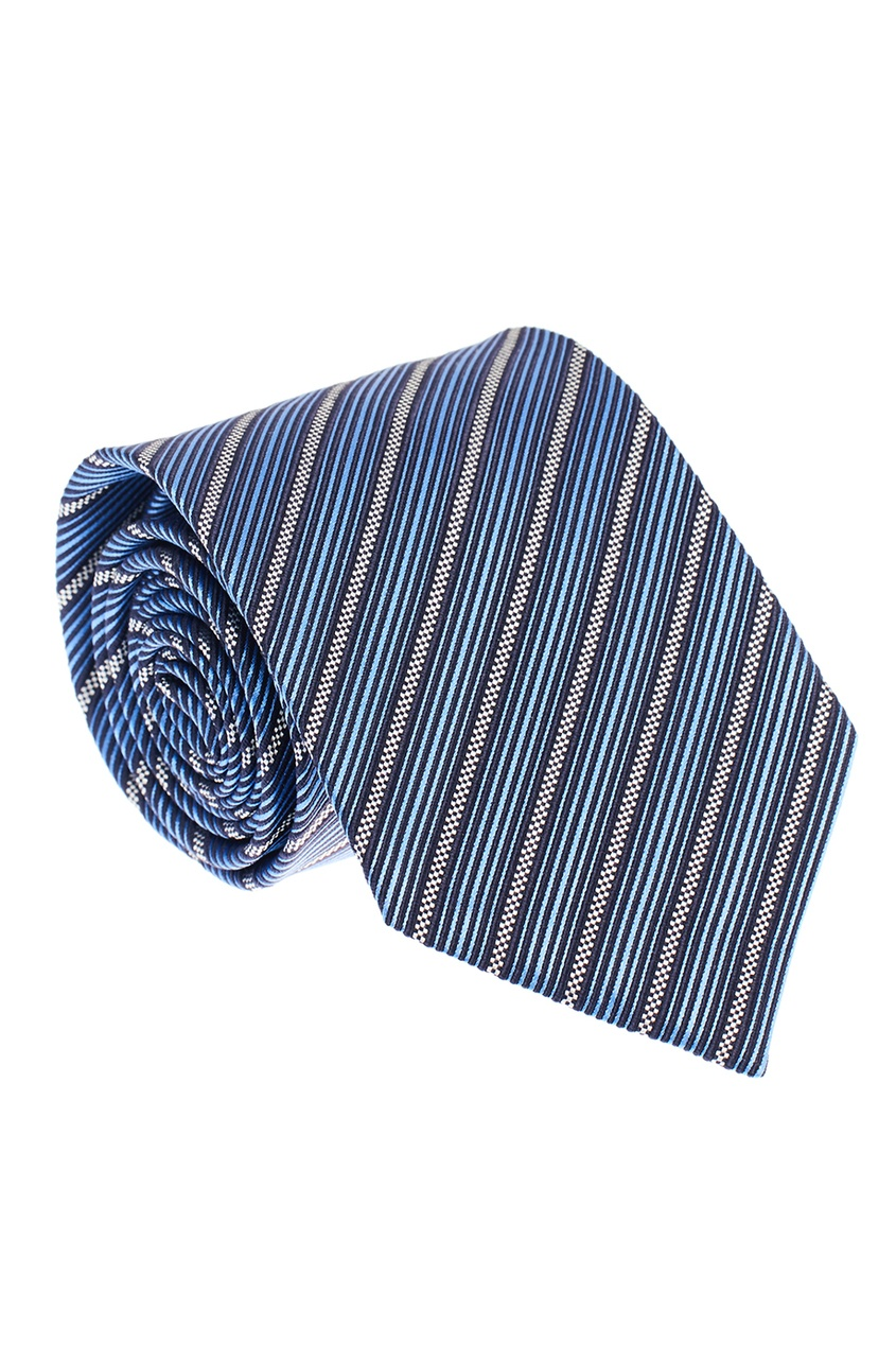 ERMENEGILDO ZEGNA Синий шелковый галстук в полоску ремень ermenegildo zegna