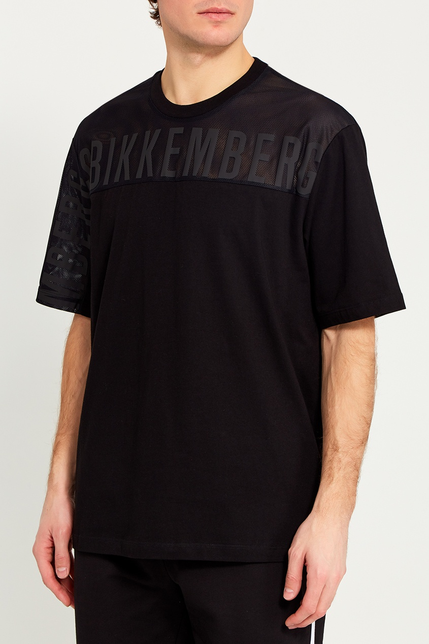 Dirk Bikkembergs Черная футболка со вставкой