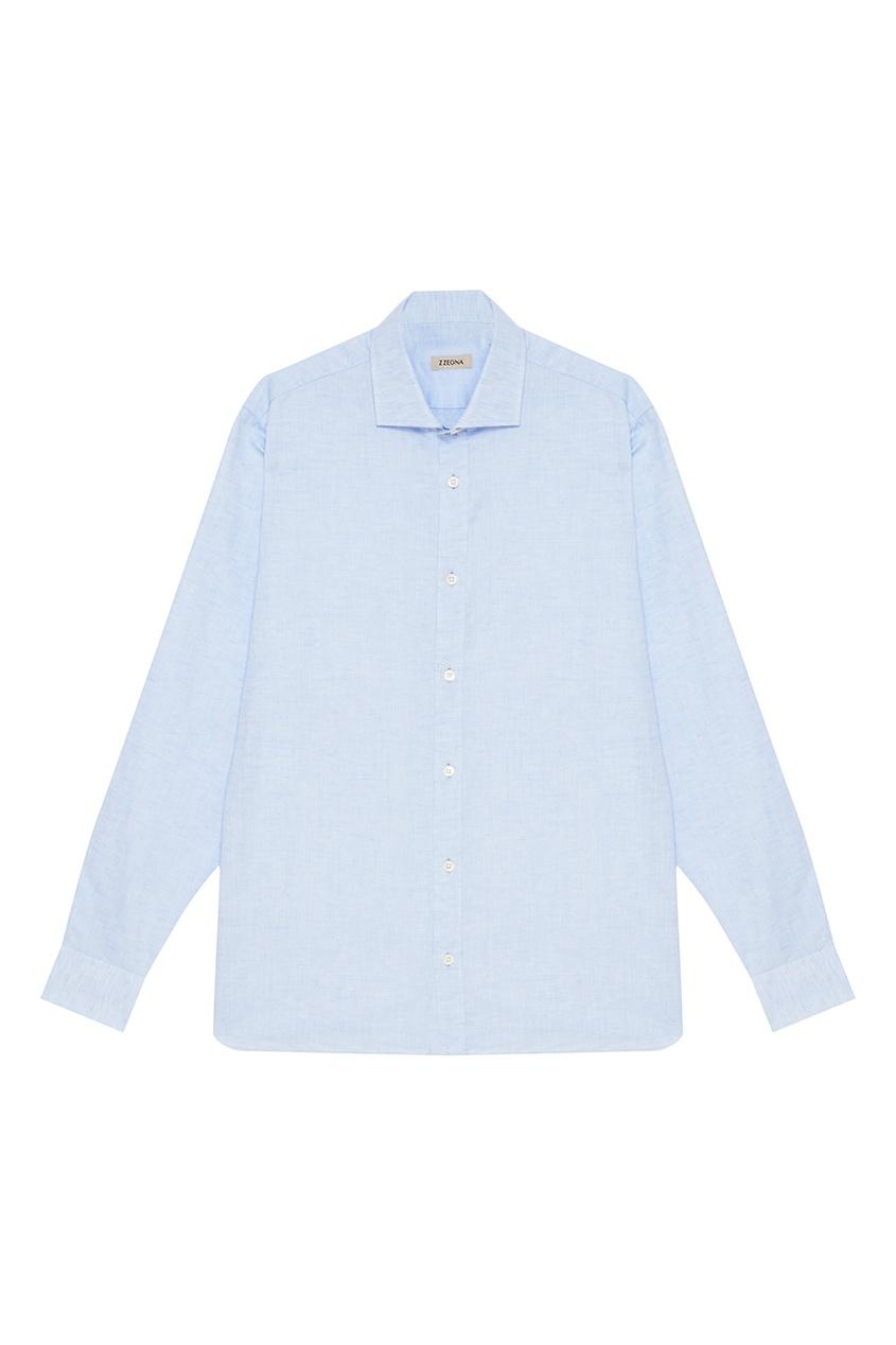 Z Zegna Голубая сорочка из хлопка и льна z zegna синее поло с контрастным рукавом