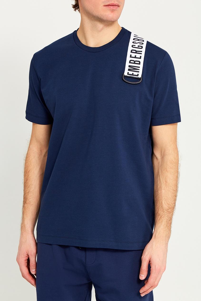 Dirk Bikkembergs Синяя футболка с лентой на плече dirk bikkembergs w15073182245