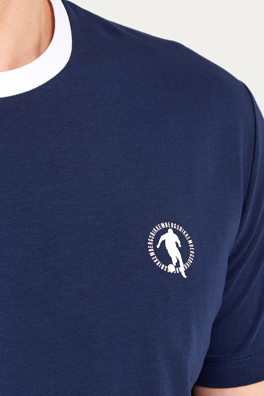 Dirk Bikkembergs Синяя футболка с круглым вырезом джинсы bikkembergs c q 61b fj s b093 033b