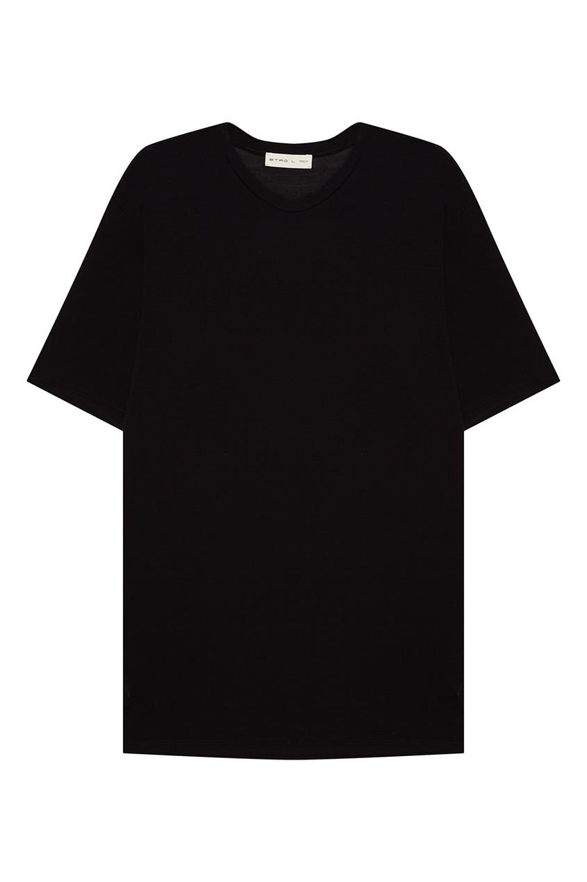 Etro Темно-синяя футболка из хлопка