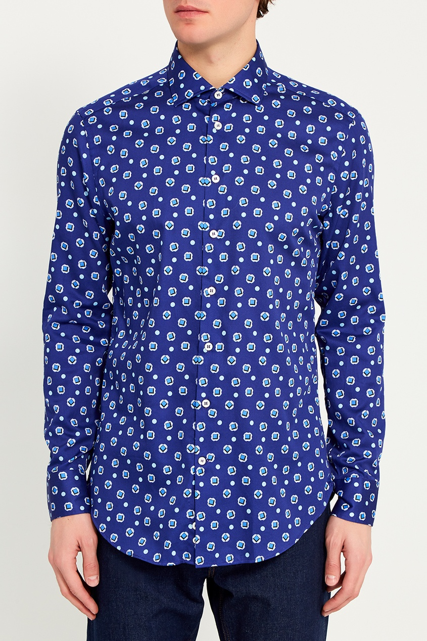 Etro Синяя хлопковая рубашка с принтом