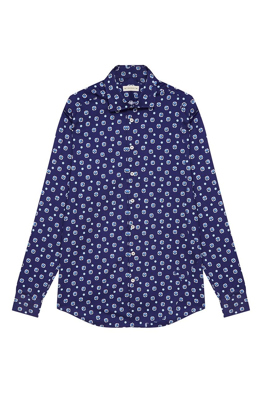Etro Синяя хлопковая рубашка с принтом etro хлопковая футболка с принтом