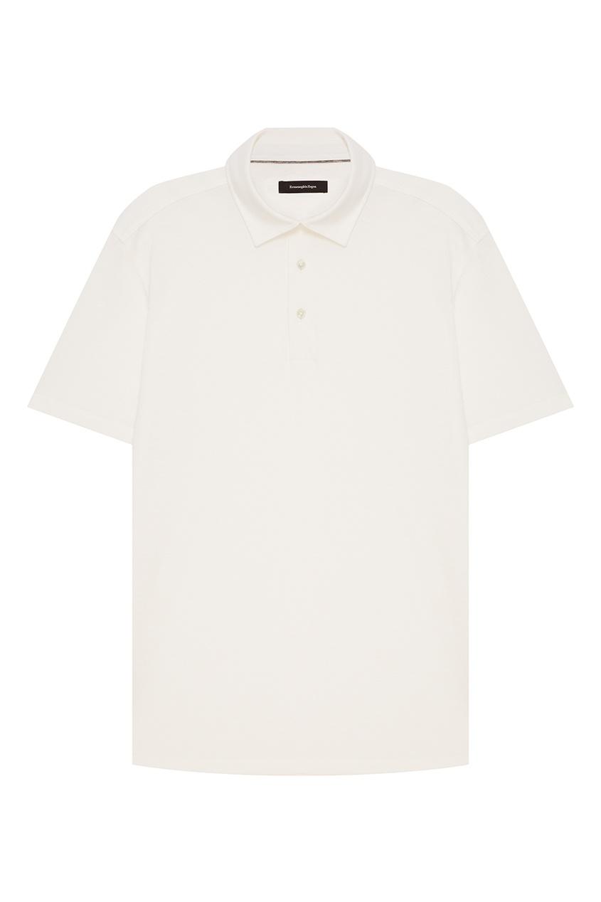 ERMENEGILDO ZEGNA Белое поло из хлопка и шелка z zegna синее поло с контрастным рукавом