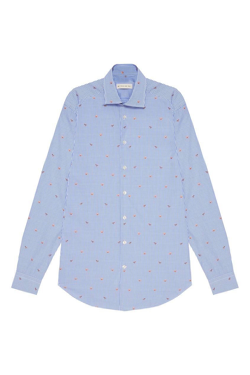 Etro Голубая хлопковая рубашка в клетку etro хлопковая футболка с принтом