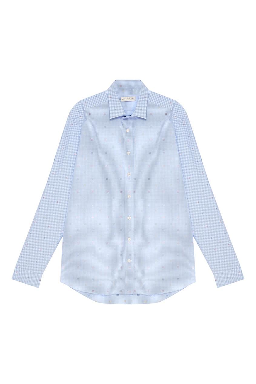 Etro Хлопковая сорочка в голубую клетку etro хлопковая футболка с принтом
