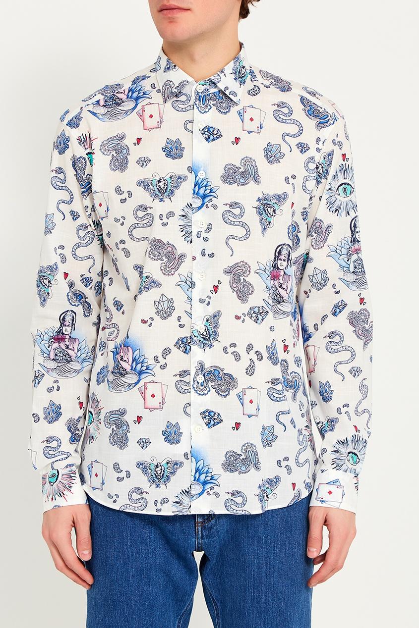 Etro Белая рубашка с голубым принтом