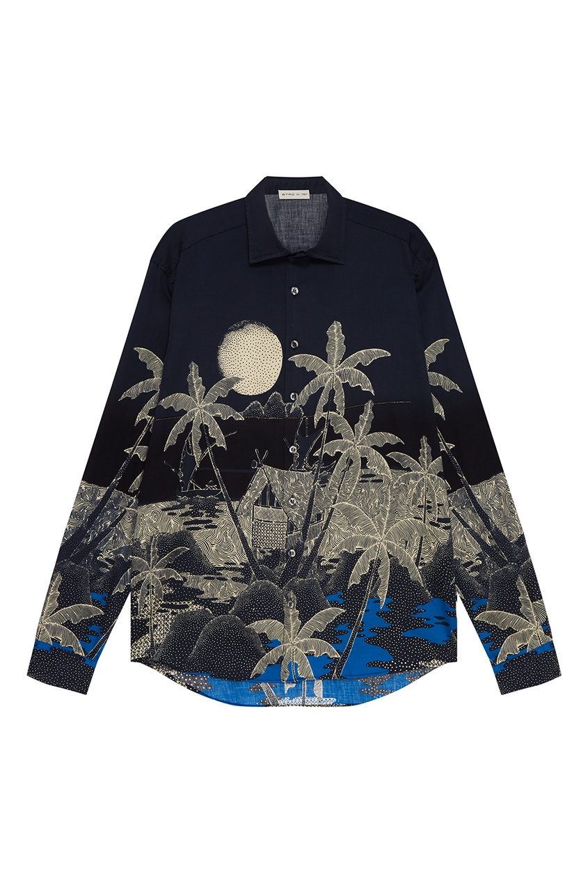Etro Хлопковая рубашка с пальмами долли нейл хижина под пальмами