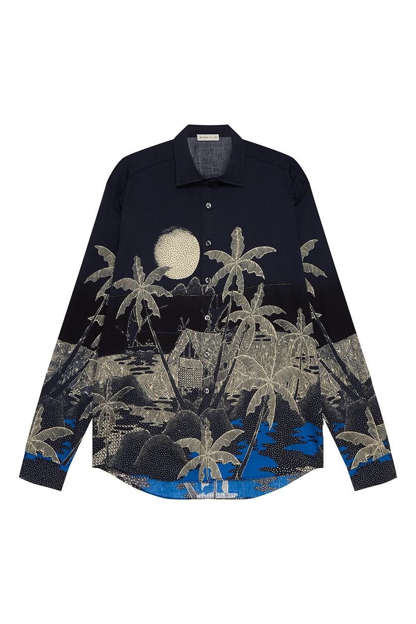 Etro Хлопковая рубашка с пальмами рубашка etro цвет темно синий