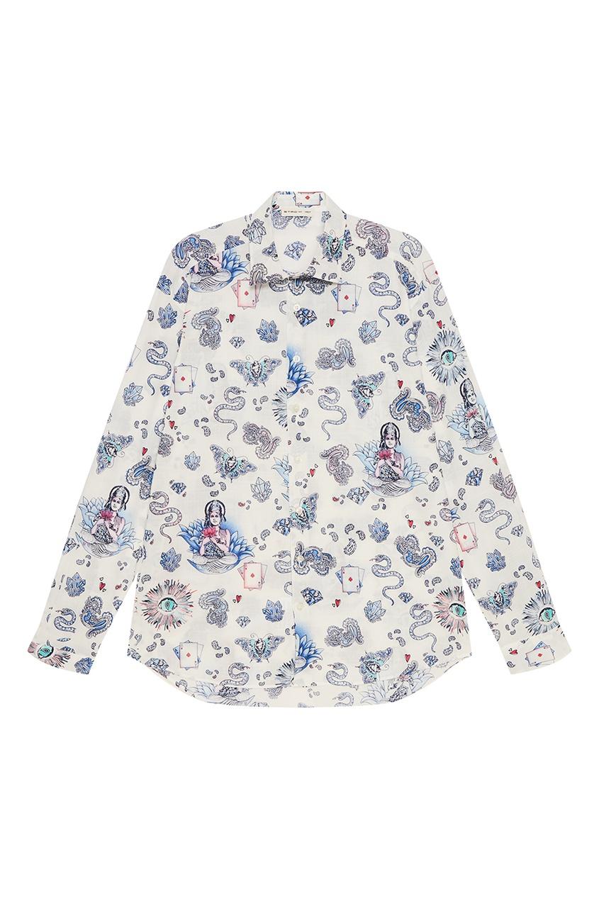 Etro Белая рубашка с голубым принтом etro хлопковая футболка с принтом
