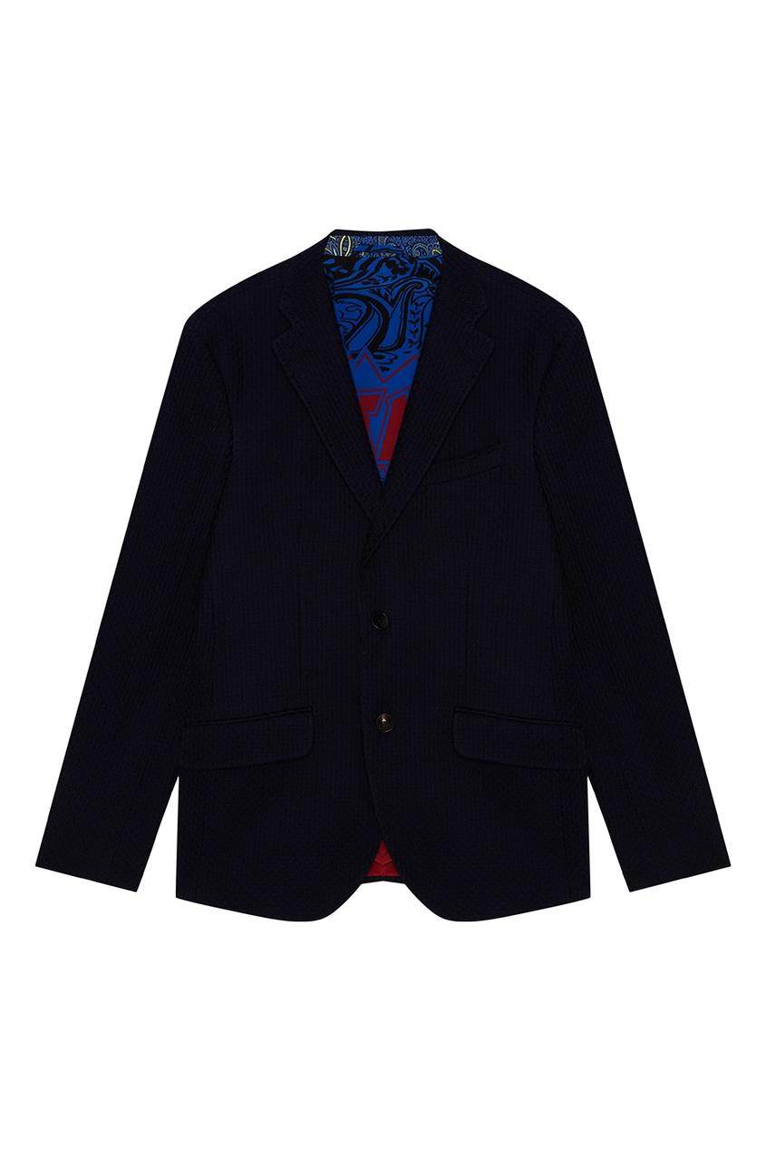 Etro Синий хлопковый пиджак куртка голубого цвета brums ут 00008775