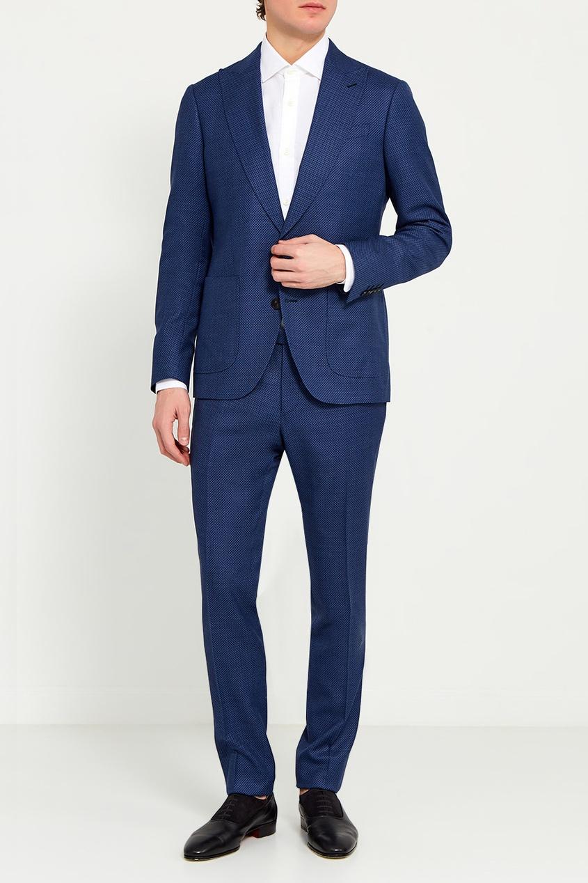 Etro Шерстяной костюм-двойка синего цвета